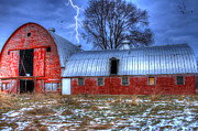 Barns Digital Art - Lightning Strikes by David Simons