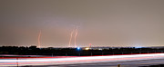 Monsoon Posters - Lightning Strikes Next to Highway Panorama Poster by James Bo Insogna