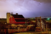 Storm Prints Framed Prints - Lightning Strikes Over The Farm Framed Print by James Bo Insogna