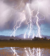 Lightning Strike Posters - Lightning Striking Longs Peak Foothills 4C Poster by James Bo Insogna