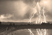 Thunderstorms Framed Prints - Lightning Striking Longs Peak Foothills Sepia 4 Framed Print by James Bo Insogna