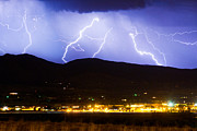 Lightning Prints Framed Prints - Lightning Striking Over IBM Boulder CO 3 Framed Print by James Bo Insogna