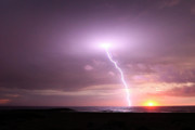 Lightning Strike Posters - Lightning Sunset Poster by John Rodriguez