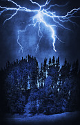 Spooky Digital Art - Lightning by Svetlana Sewell