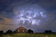 Rustic Cabin Prints - Lightning Thunderstorm Busting Out Print by James Bo Insogna