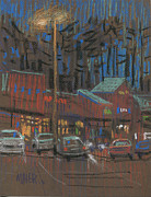Plein Air Drawings - Lights Come On by Donald Maier