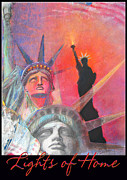 American Flag Pastels Framed Prints - Lights of Home 2 Framed Print by Brooks Garten Hauschild