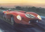 Ferrari Watercolor Posters - Lights On Poster by Robert Hooper
