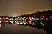 Rowing Crew Digital Art Prints - Lights on the Schuylkill River Print by Bill Cannon