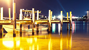 Boats At Dock Prints - Lights on the Water Print by Deborah Berberi