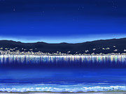 Digital Prints - Lights on water Print by Veronica Minozzi
