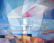 Lighthouse Art Paintings - Lightscape at Sea by Lutz Baar