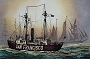 San Francisco Painting Metal Prints - Lightship SAN FRANCISCO Metal Print by James Williamson