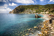 Beach Activities Prints - Liguria Coastline at Monterosso Al Mare Print by George Oze