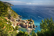 Boats In Harbor Metal Prints - Ligurian Coast View at Vernazza Metal Print by George Oze