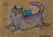 Fat Cat Framed Prints - Like A Butterfly Framed Print by Angel  Tarantella