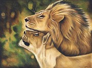 Lion Drawings Originals - Like Father like Son by Genevieve Desy