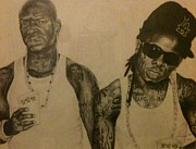 Lil Wayne Painting Metal Prints - Like Father Like Son Metal Print by Miriam Cross