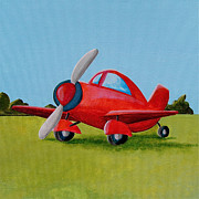 Plane Paintings - Lil Airplane by Cindy Thornton