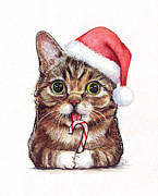 Watercolor Portrait Posters - Lil Bub Cat in Santa Hat Poster by Olga Shvartsur