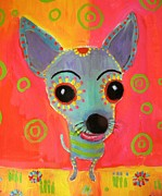 Chihuahua Abstract Art Paintings - Lil Chico by Linda Morgan Smith