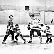Youth Hockey Art - Lil Refs at Work by Elizabeth Urlacher
