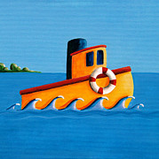 Simple Painting Framed Prints - Lil Tugboat Framed Print by Cindy Thornton