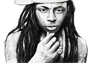 Lil Wayne Drawings Prints - Lil Wayne Art Drawing Sketch Portrait Print by Kim Wang