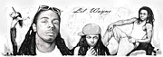 Dwayne Drawings Framed Prints - Lil Wayne art long drawing sketch poster Framed Print by Kim Wang