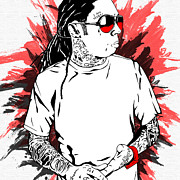 Young Mixed Media Metal Prints - Lil Wayne Metal Print by Mike Maher