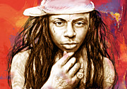 Lil Wayne Mixed Media Posters - Lil Wayne - stylised drawing art poster Poster by Kim Wang