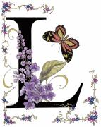Purple Flowers Mixed Media Posters - Lilac and Large Tiger Butterfly Poster by Constance Widen
