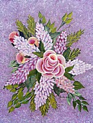 Rosebud Paintings - Lilac and Rose Bouquet by Barbara Griffin