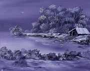 Cabin Wall Prints - Lilac Lace of Winter Print by Cynthia Adams