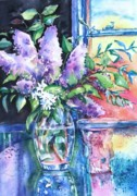 Vase Of Flowers Posters - Lilac Light Poster by Trudi Doyle