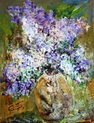 Mary Spyridon Thompson Posters - Lilac Time Poster by Mary Spyridon Thompson