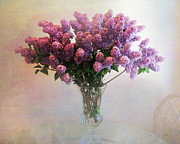 Lilac Digital Art Prints - Lilac Vase On Table Print by Bedros Awak