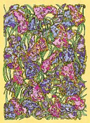 Pink Blossoms Drawings Posters - Lilacs Electric Poster by Mag Pringle Gire