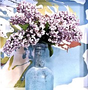 Glass Bottle Digital Art Framed Prints - Lilacs Gorgeous Framed Print by Marsha Heiken