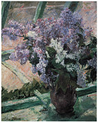 Lilacs Framed Prints - Lilacs in a Window Framed Print by Mary Cassatt