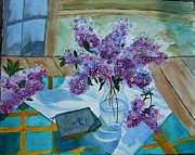 Outdoor Still Life Paintings - Lilacs in Spring by Rita Howard