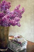 Purple Flowers Posters - Lilacs in Vase 3 Poster by Rebecca Cozart