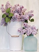 Sea Glass Posters - Lilacs Still Life Poster by Marsha Heiken