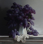 Realist Painting Prints - LILACS study no.2 2011 Print by Larry Preston