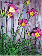 Ornamental Digital Art - Lilies Against The Wooden Fence by Danielle  Parent