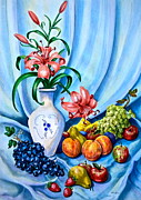 Flower Still Life Prints Posters - Lilies and Fruit Still Life Poster by Jan Law