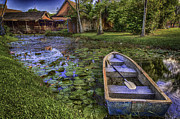 Mario Legaspi Metal Prints - Lilies By The Boat Metal Print by Mario Legaspi