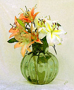 Lilies Digital Art Posters - Lilies In Vase Poster by Ben and Raisa Gertsberg