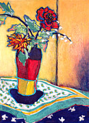 Vase Of Flowers Mixed Media Posters - Lilies of the Valley Poster by Diane Fine