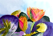Lotus Bud Paintings - Lilies Of The Water by Beverley Harper Tinsley